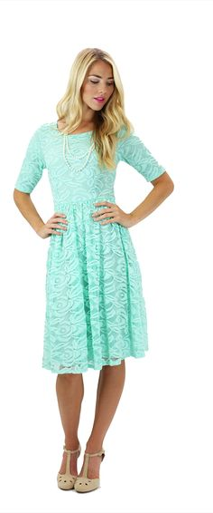 The Samantha dress is a stunning Mint Lace Dress!!! Available in 5 beautiful colors. Mint, Cream, Burgundy, Blush Pink & Navy! This lovely exquisite lace floral dress is a perfect option for bridesmaids, a hot date, or for a stylish church dress. Modest Dresses/ Modest Bridesmaid Dresses/ Modest Fashion/ Modest Clothing/ Lace Dress #sierrabrookeclothing