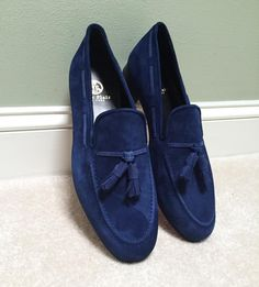 Mens Dress Loafers, Loafers Men, Tassel Loafers, Sock Shoes, Men's Shoes, Shoe Boots, Dress Up Shoes, Loafers Online, Blue Suede Shoes