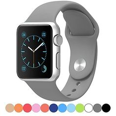 Apple Watch Band,Goodidus Soft Silicone Fitness Replacement Sport Band for Apple Watch (Dark grey 42MM)  #42MM #Apple #band #BandGoodidus #Dark #Fitness #Grey #Replacement #Silicone #soft #Sport #Watch MonitorWatches.com
