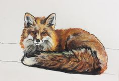 "Original Mixed Media Drawing on Paper by Allyson Kramer ""Red Fox"""