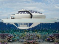 Italian industrial designer Michele Puzzolante designed this conceptual floating luxury hotel suite powered by solar cells. The Solar Floating Resort is a Floating Hotel, Floating Island, Futuristic Architecture, Architecture Design, Floating Architecture, Hotel Suites, Water Crafts, My Dream Home, Porches