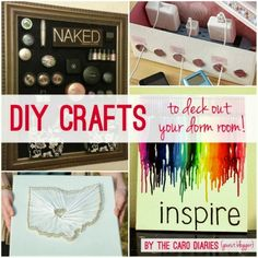 DIY ideas for decking out your dorm room or apartment! Good pin!!