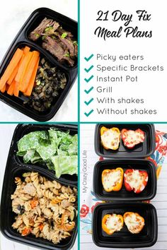 A TON of 21 Day Fix meal plans for all of the calorie brackets: 1200, 1500, 1800, and 2100. Meal plan ideas for picky eaters, Instant Pot recipes, slow cooker recipes, and more!