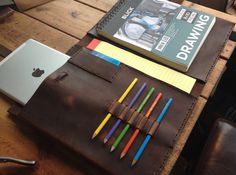 Teacher notepad - leather iPad case folder - leather portfolio, pad folio, custom leather business folio