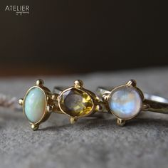Opal, Citrine & Moonstone Rings set in 14kt Gold & Sterling Silver by ATELIER Gaby Marcos