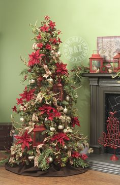 Christmas Tree decorated with lanterns and antlers from the RAZ Tiny Tannenbaum collection