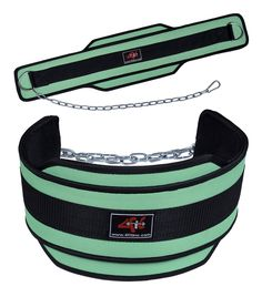 """4Fit Weight Lifting Belt, Neoprene Belt Exercise Belt Heavy Chain Belt-Green. It can bear weight up to 100KG. It has steel chain of length 28"""" and ¼"""" Wide. Fully adjustable heavy duty metal chain included, Tested for the strength and endurance. Recommended for all athletes, Specifically designed those in contact sports. Quality Stitched,Only one size fit,GREEN COLOR."""
