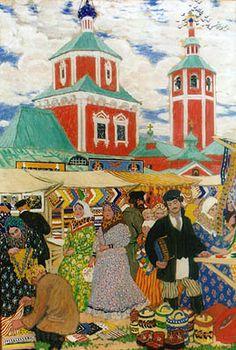 At the Fair by Boris Kustodiev ( На ярмарке | Кустодиев, Борис Михайлович )