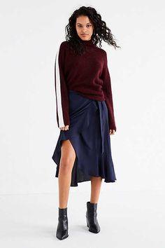 BOG Collective Ruffle Wrap Solid Midi Skirt