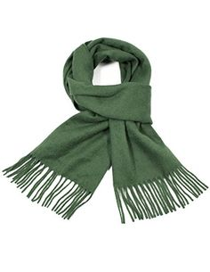 Dahlia Men's Winter Wool Blend Scarf - Super Soft Solid Color - Dark Green *** Click here for more details @