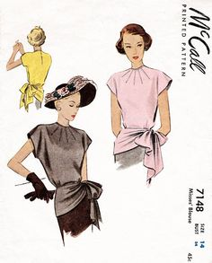 1940s 40s McCall 7148 blouse sewing pattern side gather sash bow detail bust 34 reproduction