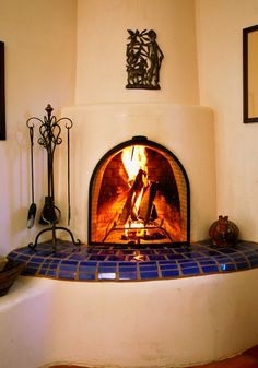 Fireplace Photography Santa Fe Style Kiva Adobe New