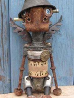 Art from recycled metal parts. Metal Yard Art, Scrap Metal Art, Arte Robot, Robot Art, Found Object Art, Found Art, Marionette, Assemblage Art, Recycled Art