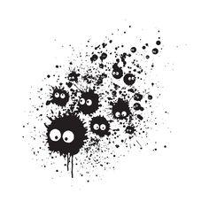 """""""Susuwatari Ink"""" by Dr.Monekers Inspired by the soot gremlins from My Neighbor Totoro and Spirited Away Hayao Miyazaki, Kodama Tattoo, Film Animation Japonais, Manga Anime, Anime Art, Ghibli Tattoo, Day Of The Shirt, Hotarubi No Mori, Studio Ghibli Art"""
