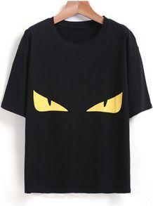 Black Short Sleeve Eye Print Loose T-Shirt