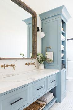 Modern traditional home decor – blue bathroom design … – Home Decor Bathroom Cabinetry, Bathroom Renovations, Remodel Bathroom, Painted Cabinets In Bathroom, Bathroom Interior, Modern Bathroom, Bathroom Ideas, Budget Bathroom, Bathroom Mirrors