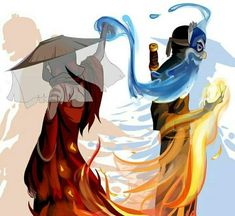 Prince Zuko the Blue Spirit and Katara the Painted Lady from Avatar The Last Airbender Avatar Aang, Avatar Airbender, Avatar Legend Of Aang, Zuko And Katara, Team Avatar, Legend Of Korra, Avatar Fan Art, Blade Runner, Dc Superhero Girl