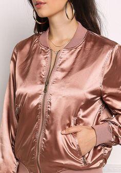 Rose Gold Satin Zipper Bomber Jacket