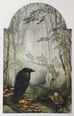 Small print from my enchanted forest series, featuring my original painting of elves traveling through a wood, inspired by the works of Tolkien. Watercolor And Ink, Watercolor Illustration, Forest Illustration, Crow Painting, Original Paintings, Original Art, Fairytale Art, Art Challenge, Illustrations