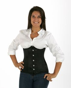 f3860c861 045 black satin double steel boned underbust corset Waist Cincher Corset