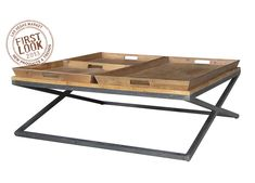 Irondale Jax Square Coffee Table with Tray-Style Top by Four Hands at Belfort Furniture Antique Coffee Tables, Black Coffee Tables, Coffee Table Tray, White Side Tables, White Coffee, Large Furniture, Find Furniture, Furniture Decor, Reclaimed Furniture