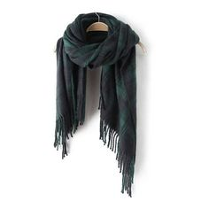 SheIn(sheinside) Green Plaid Fringe Scarve (21 BAM) via Polyvore featuring accessories, scarves, fringed shawls, tartan plaid scarves, plaid scarves, fringe scarves and tartan scarves