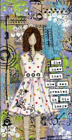 Serendipity Girl Art Mixed Media Collage Canvas