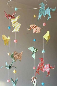 Origami mobile DIY paper craft mobile Origami animals