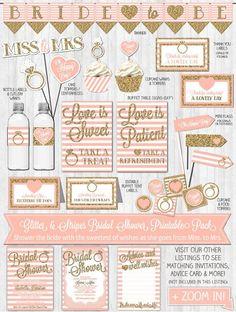 Bridal Shower Decor: Gold Glitter & Blush Pink Stripes