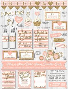 Bridal Shower Decor: Gold Glitter & Blush Pink Stripes
