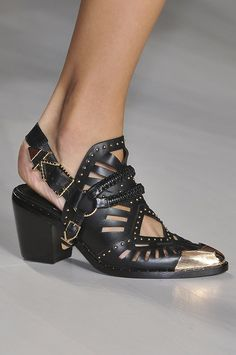 With bold references, like spurs and the tougher, metal hardware at Marissa Webb, or more subtle influence, like the shape of the shoes at Victoria Beckham, Western-inspired kicks are having a moment.  Marissa Webb Spring 2015