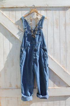 Long 80s overalls denim vintage by FashionRedoux on Etsy, $22.00