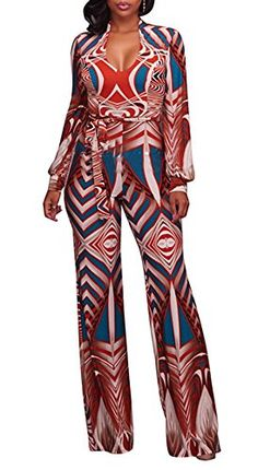 ae4f9429fe SALE PRICE -  18.99 - EnlaChic Women African Print V Neck Wide Leg Palazzo Pants  Jumpsuits