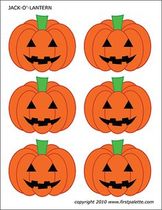 Six free printable Jack-o'-Lantern sets that include black & white and colored small, medium-sized and large Jack-o'-Lanterns to use for crafts and other fall or Halloween activities. Dulceros Halloween, Moldes Halloween, Halloween Quilts, Halloween Crafts For Kids, Halloween Pictures, Diy Halloween Decorations, Halloween Pumpkins, Pumpkin Templates Free Printable, Pumpkin Printable