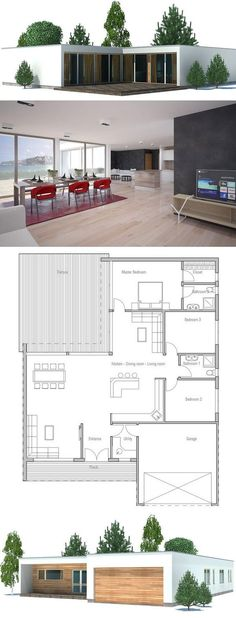 Modern House Plan with double garage, three bedrooms. Floor plan from ConceptHome.com