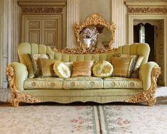 Диван светло-зеленый Rampoldi Creations XIN 32 , каталог мягкой мебели: фото, заказ, доставка - ABITANT ABITANT Москва Furniture, Luxury Living Room, Royal Furniture, Sofa Design, Luxury Furniture Sofa, Luxury Furniture, Elegant Sofa Sets, Armchair Furniture, Carved Sofa