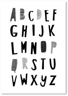 Americanflat Black ABC Print Art, Print Only