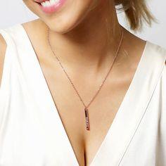 Ruby Rose Gold Garnet Necklace Romantic Birthstone Bar