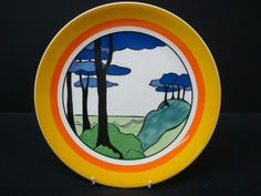 """WEDGWOOD CLARICE CLIFF BLUE FIRS 10"""" CHARGER PLATE WITH CERTIFICATE"""