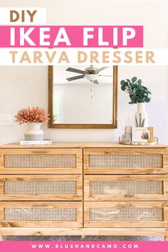 We flipped the IKEA tarva dresser into a gorgeous DIY cane dresser! And now it's our dream dresser! You can have a dream dresser too by following our step by step instructions! #ikeahack #tarvadresser #diycanedresser  #tutorial