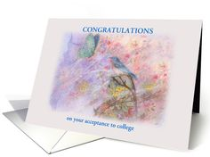 this romantic look is a collage of my various illustrations, having fun with layers on photoshop, college acceptance congrats illustrated bluebird card