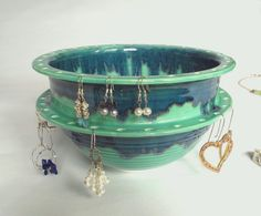 Jewelry Dishes, Earring Holder, Green Earring Bowl, Large Double Decker, Handmade Ceramics, Jewellery Organizer