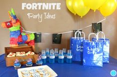 Simple and easy FORTNITE Party Ideas including cookies and goodie bags!