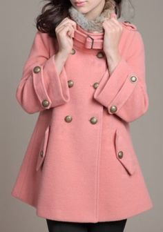 Pink Fur Lapel Long Sleeve Pockets Buttons Coat