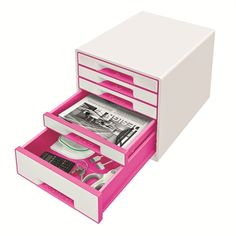 Leitz 5 Drawer Cabinet, Organiser with Marker Pen and Transparent Tray, Wow Range, Pearl White/Grey Orange Office, Pink Office, Small Drawers, Desk With Drawers, Office Paper, Thing 1, Marker Pen, Desktop Accessories, Drawer Fronts