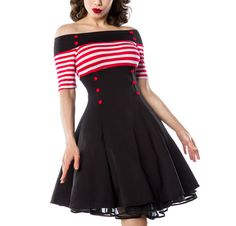 Bardot Striped Black, Red and White Vintage Style Flare Dress - available in sizes XS - 3X PLUS SIZES