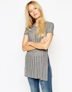 ASOS Tunic with Split Sides in Laddered Fabric - Red
