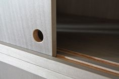 Kitchen closet - cutout handle-  WORKSTEAD: you can see the layers of the material (סנדוויץ')