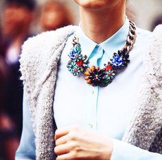 Zara necklace during Milan Fashion Week September 2014