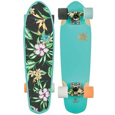 """The Globe Blazer 26"""" Skateboard in the Island Blue Colorway has a blue painted bottom with a raw wood Globe graphic. It has island floral print grip and a small kick tail. The Blazer comes with Slant"""